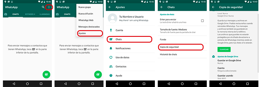 Copia de seguridad WhatsApp